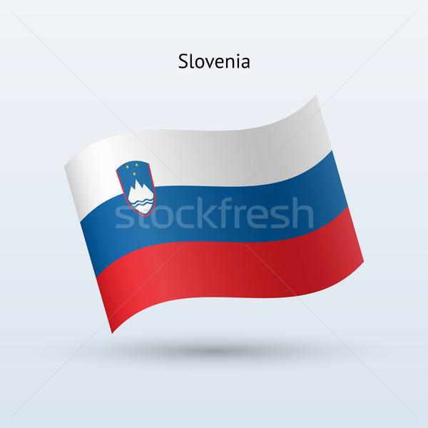 Szlovénia zászló integet űrlap szürke felirat Stock fotó © tkacchuk