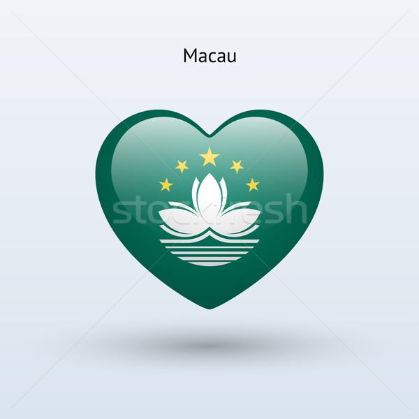 Love Macau symbol. Heart flag icon. Stock photo © tkacchuk