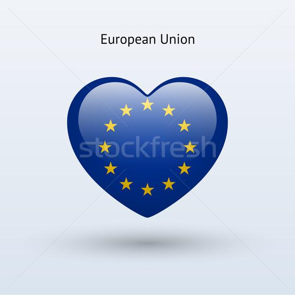 Love European Union symbol. Heart flag icon. Stock photo © tkacchuk