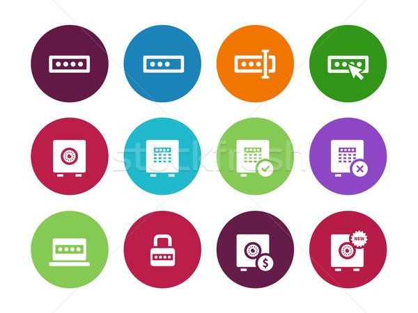 Kennwort Kreis Symbole weiß Computer Design Stock foto © tkacchuk