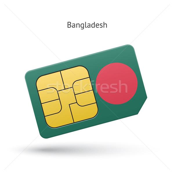 Bangladesh mobile phone sim card with flag. Stock photo © tkacchuk