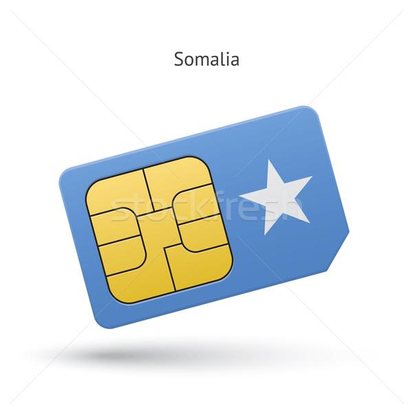 Somalia mobile phone sim card with flag. Stock photo © tkacchuk