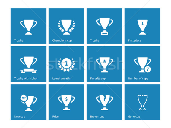 Champions cup icons on blue background. Stock photo © tkacchuk