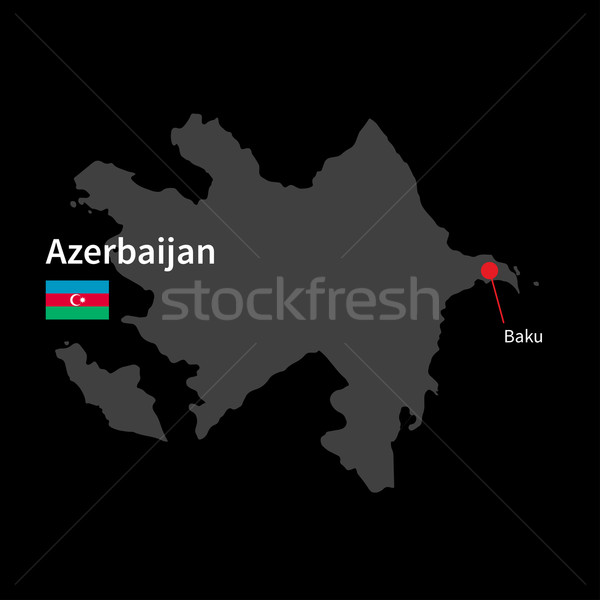 Detailed map of Azerbaijan and capital city Baku with flag on black background Stock photo © tkacchuk