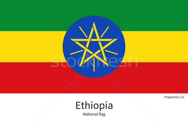 National flag of Ethiopia with correct proportions, element, colors Stock photo © tkacchuk
