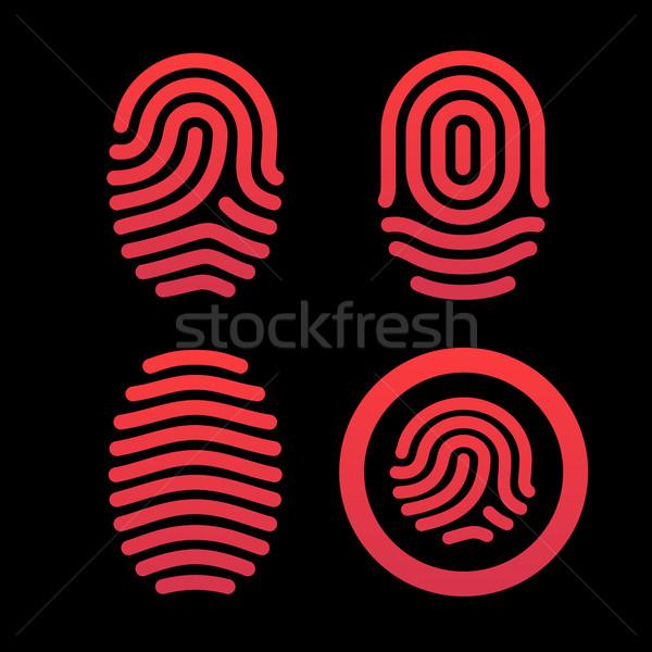 Establecer identificación diseno silueta sello Foto stock © tkacchuk