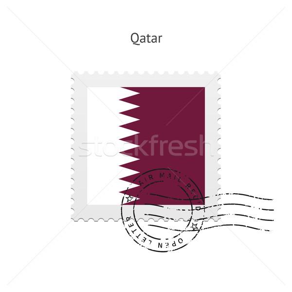 Katar bayrak beyaz imzalamak mektup Stok fotoğraf © tkacchuk