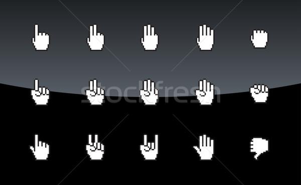 Pixel ikonok egér kezek technológia felirat Stock fotó © tkacchuk