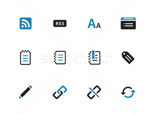 блоггер иконки белый пер дизайна синий Сток-фото © tkacchuk
