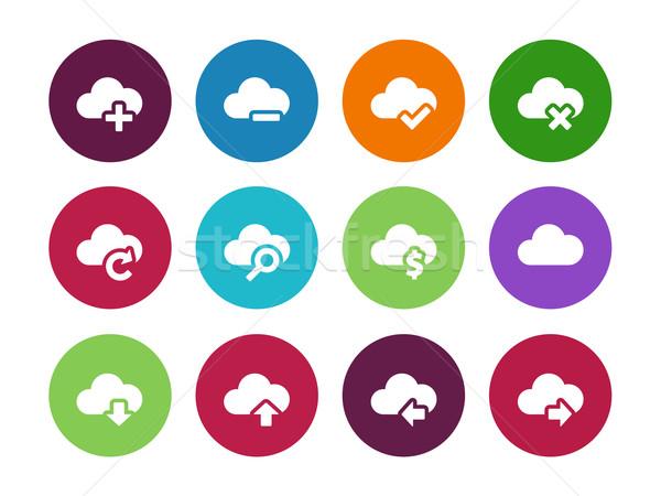 Chmura kółko ikona biały Internetu laptop Zdjęcia stock © tkacchuk