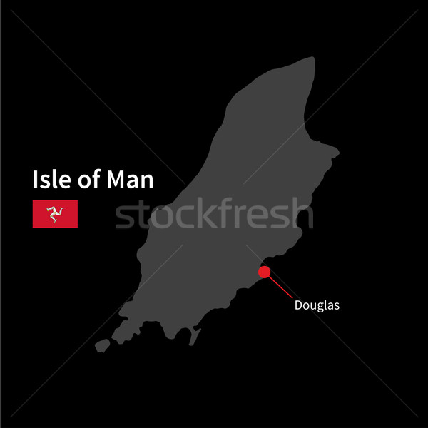 Detailed map of Isle of Man and capital city Douglas with flag on black background Stock photo © tkacchuk