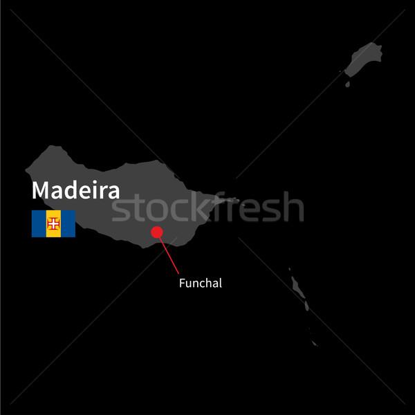 Részletes térkép Madeira város zászló fekete Stock fotó © tkacchuk