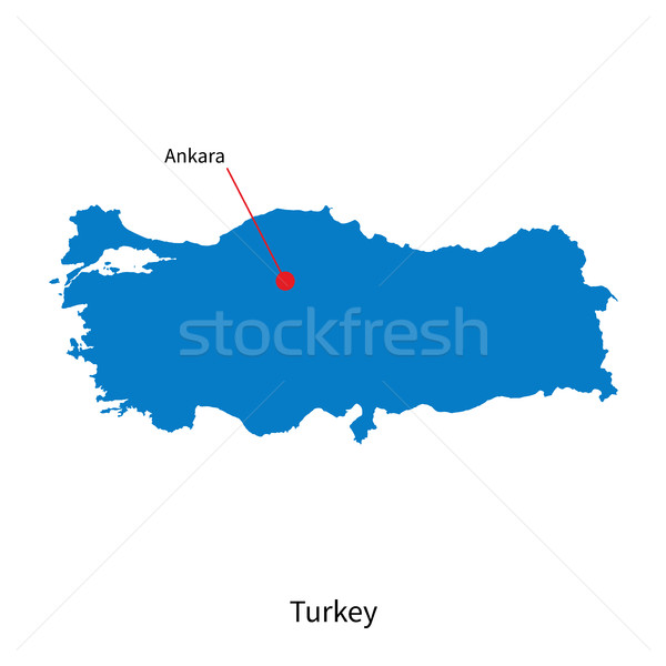 Detailed vector map of Turkey and capital city Ankara Stock photo © tkacchuk