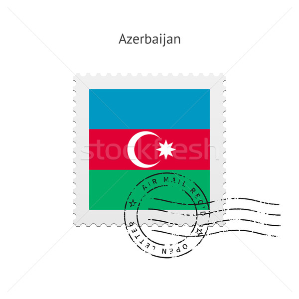 Azerbajdzsán zászló postabélyeg fehér felirat levél Stock fotó © tkacchuk