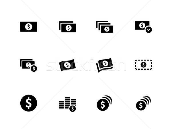 Dollar Banknote icons on white background. Stock photo © tkacchuk