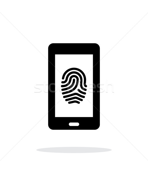 Phone fingerprint icon on white background. Stock photo © tkacchuk