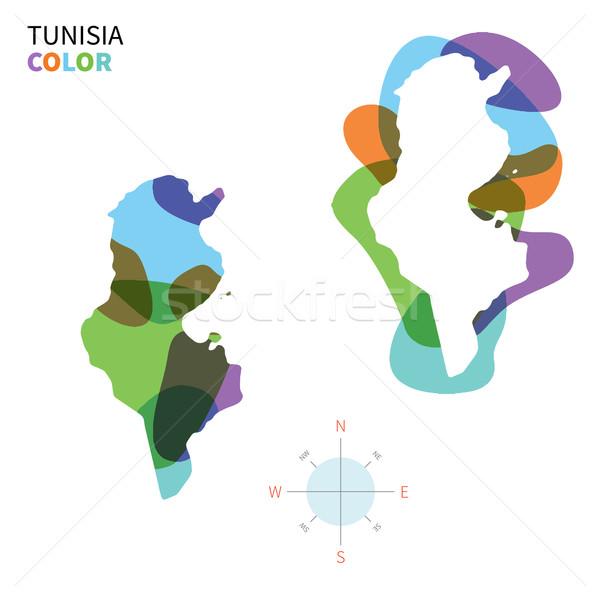 Soyut vektör renk harita Tunus şeffaf Stok fotoğraf © tkacchuk