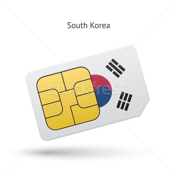 South Korea mobile phone sim card with flag. Stock photo © tkacchuk