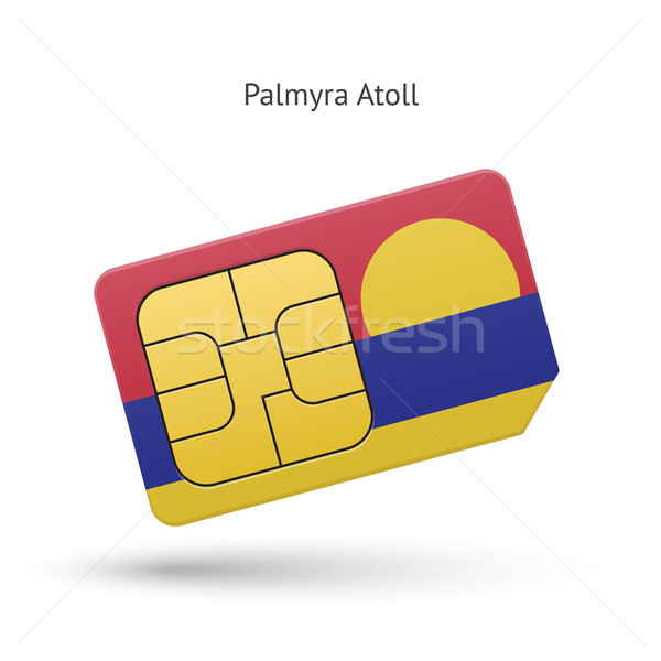 Palmyra Atoll mobile phone sim card with flag. Stock photo © tkacchuk