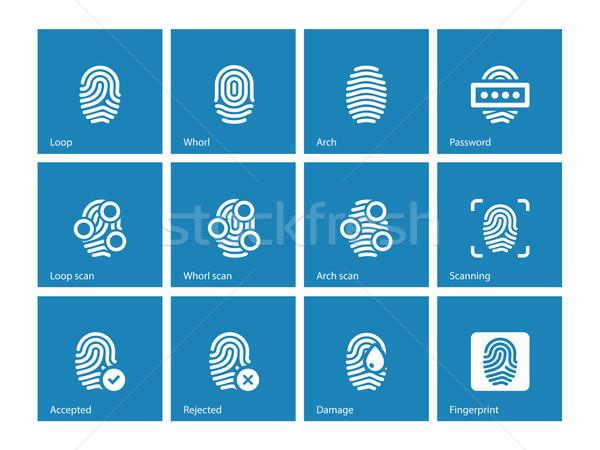 Fingerprint and thumbprint icons on blue background. Stock photo © tkacchuk