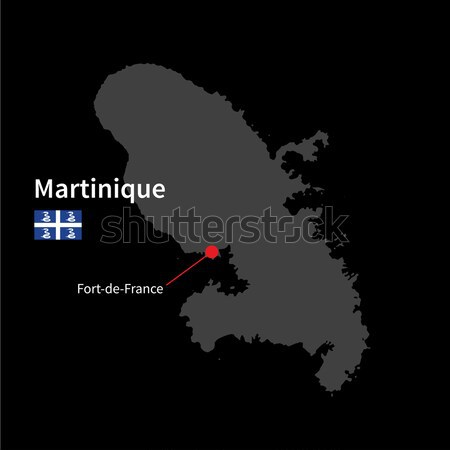 Detailed map of Martinique and capital city Fort-de-France with flag on black background Stock photo © tkacchuk