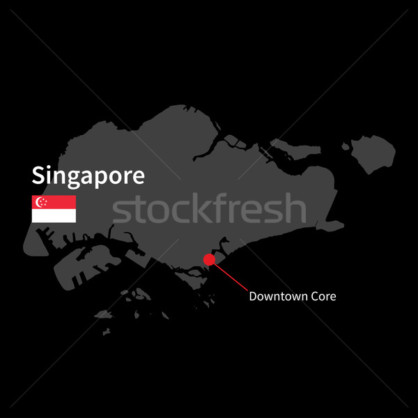 Detailed map of Singapore and capital city Downtown Core with flag on black background Stock photo © tkacchuk