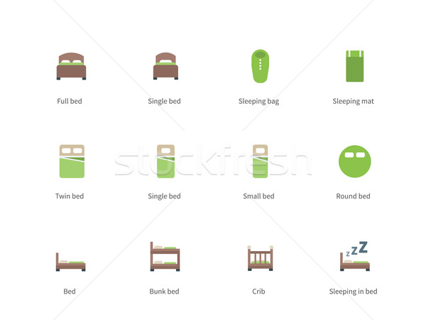 Hotel beds and Sleep signs color icons on white background. Stock photo © tkacchuk