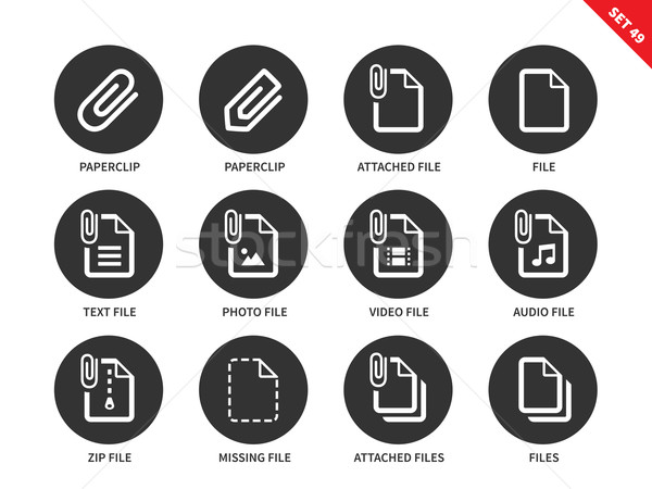 Attaché fichier icônes blanche vecteur Photo stock © tkacchuk