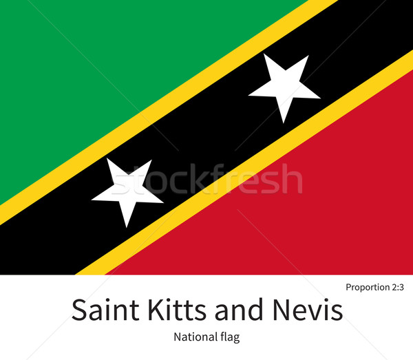 National flag of Saint Kitts and Nevis with correct proportions, element, colors Stock photo © tkacchuk