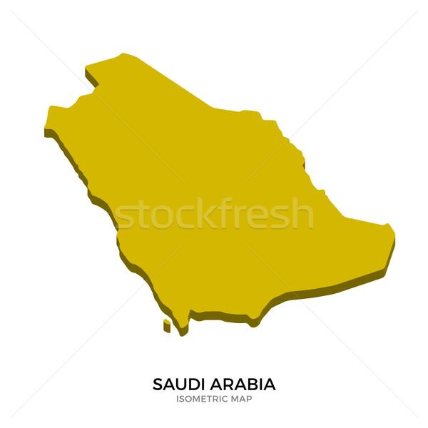 アイソメトリック 地図 サウジアラビア 詳しい 孤立した 3D ストックフォト © tkacchuk