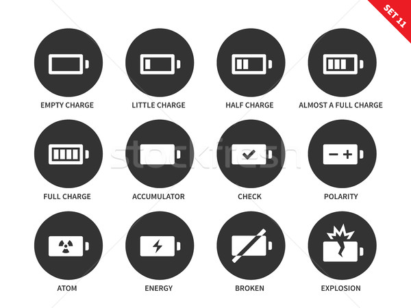 Battery charge levels icons on white background Stock photo © tkacchuk