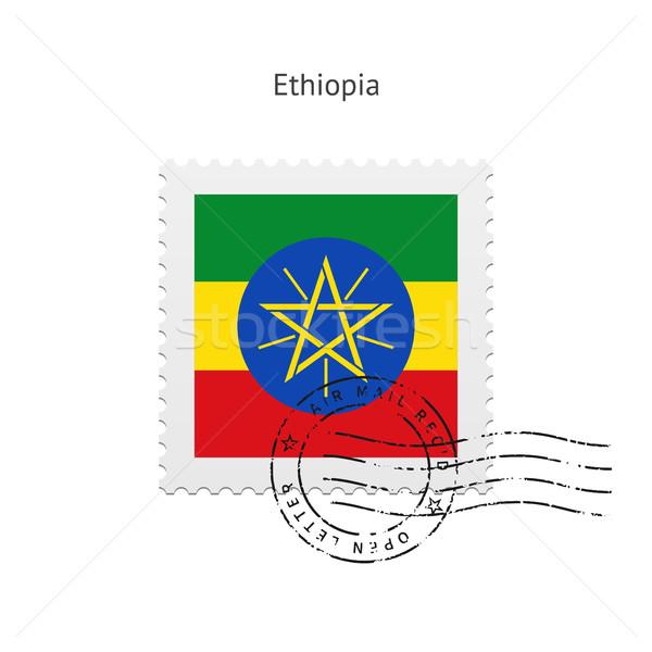 Etiópia zászló postabélyeg fehér felirat levél Stock fotó © tkacchuk