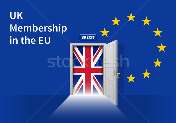 Brexit Door with UK flag on EU background. Vector illustration Stock photo © tkacchuk