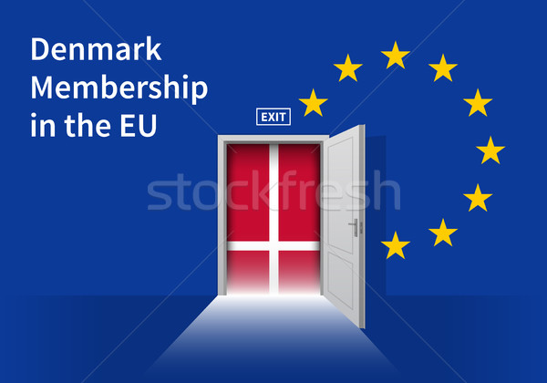 European Union flag wall with Denmark flag door. EU Flag. Stock photo © tkacchuk