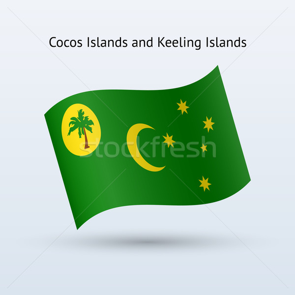 Cocos and Keeling Islands flag waving form. Stock photo © tkacchuk