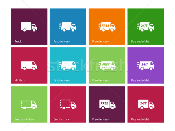 Delivery Service icons on color background. Stock photo © tkacchuk
