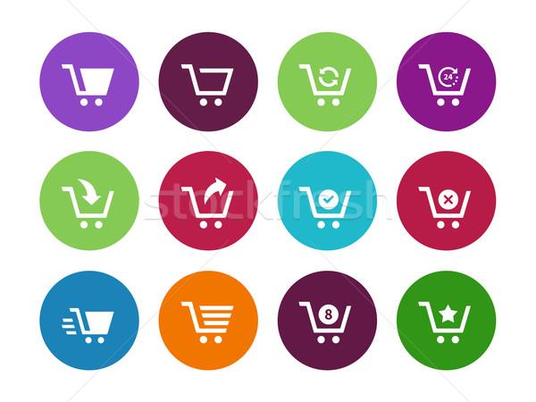 Bevásárlókocsi kör ikonok fehér internet háló Stock fotó © tkacchuk