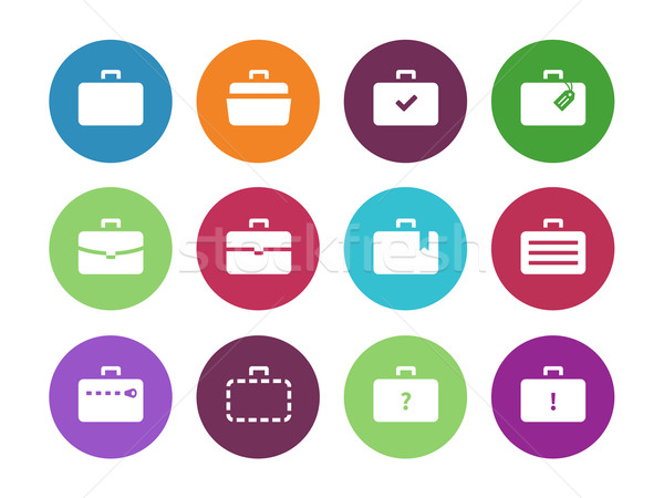 Stock photo: Case circle icons. Traveling bags and luggage.