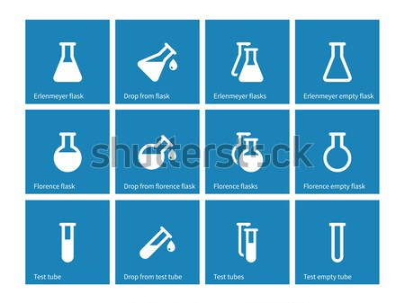Flacon and flask color icons on white background. Stock photo © tkacchuk
