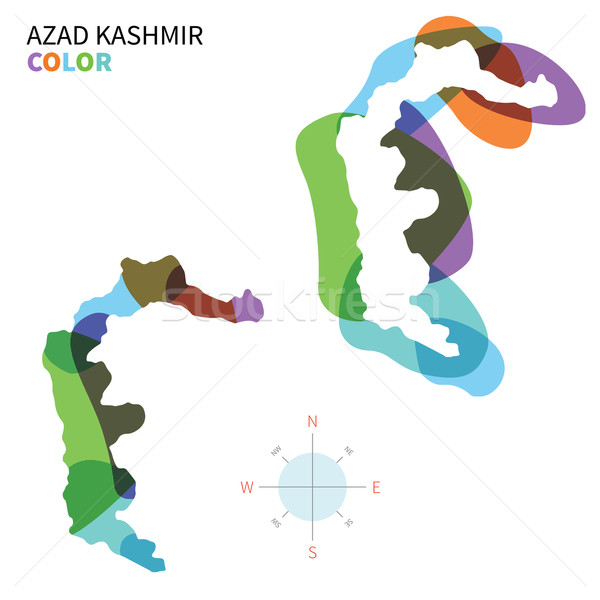 Abstract vector color map of Azad Kashmir with transparent paint effect. Stock photo © tkacchuk