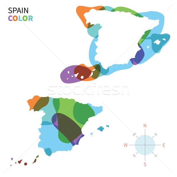 Abstract vector kleur kaart Spanje transparant Stockfoto © tkacchuk