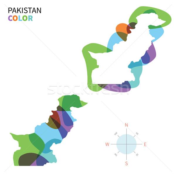 Soyut vektör renk harita Pakistan şeffaf Stok fotoğraf © tkacchuk
