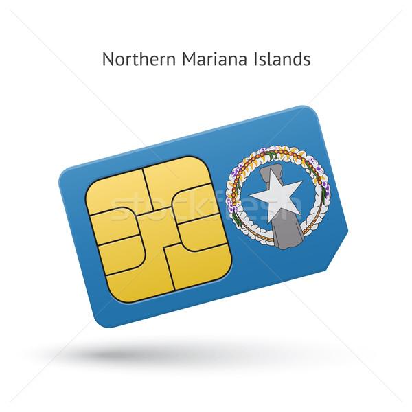 Northern Mariana Islands mobile phone sim card with flag. Stock photo © tkacchuk