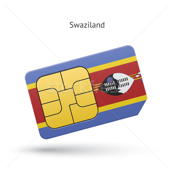 Swaziland mobile phone sim card with flag. Stock photo © tkacchuk