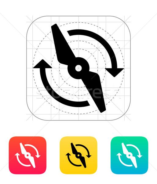 Ikon felirat sziluett bélyeg szél gép Stock fotó © tkacchuk