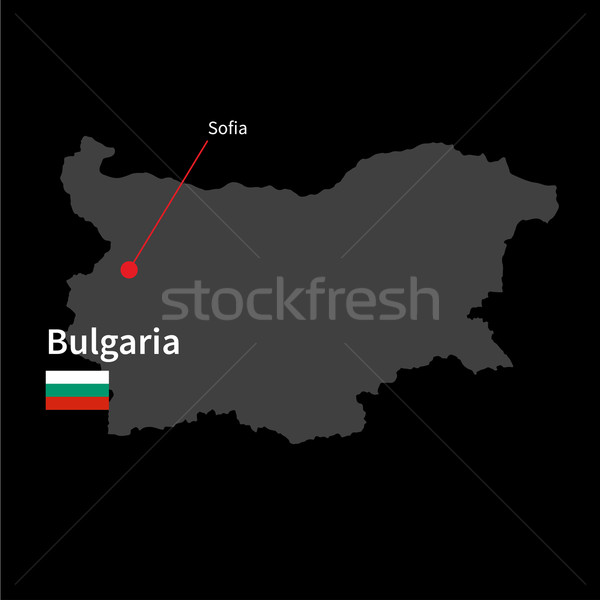 Detailed map of Bulgaria and capital city Sofia with flag on black background Stock photo © tkacchuk