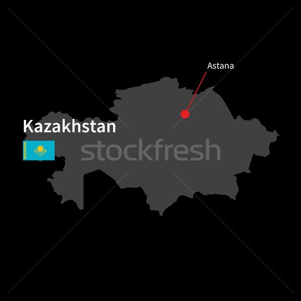 Részletes térkép Kazahsztán város zászló fekete Stock fotó © tkacchuk