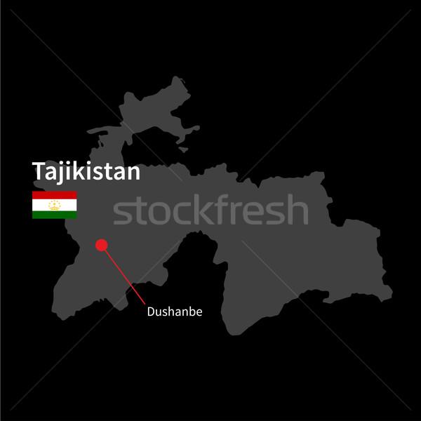 Detailed map of Tajikistan and capital city Dushanbe with flag on black background Stock photo © tkacchuk