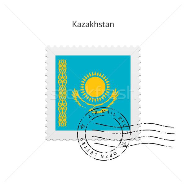 Kazahsztán zászló postabélyeg fehér felirat levél Stock fotó © tkacchuk