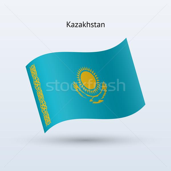 Казахстан флаг форме серый знак Сток-фото © tkacchuk